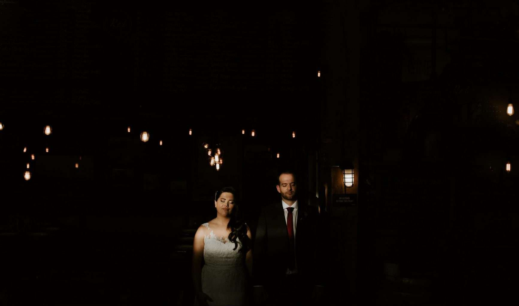 Bride and Groom at their wedding at the Settlement Building in Vancouver.