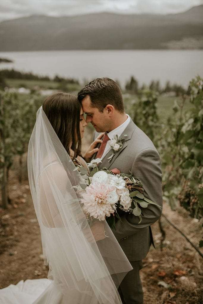 Bride and groom at their 50th parallel estate wedding in Lake Country BC.