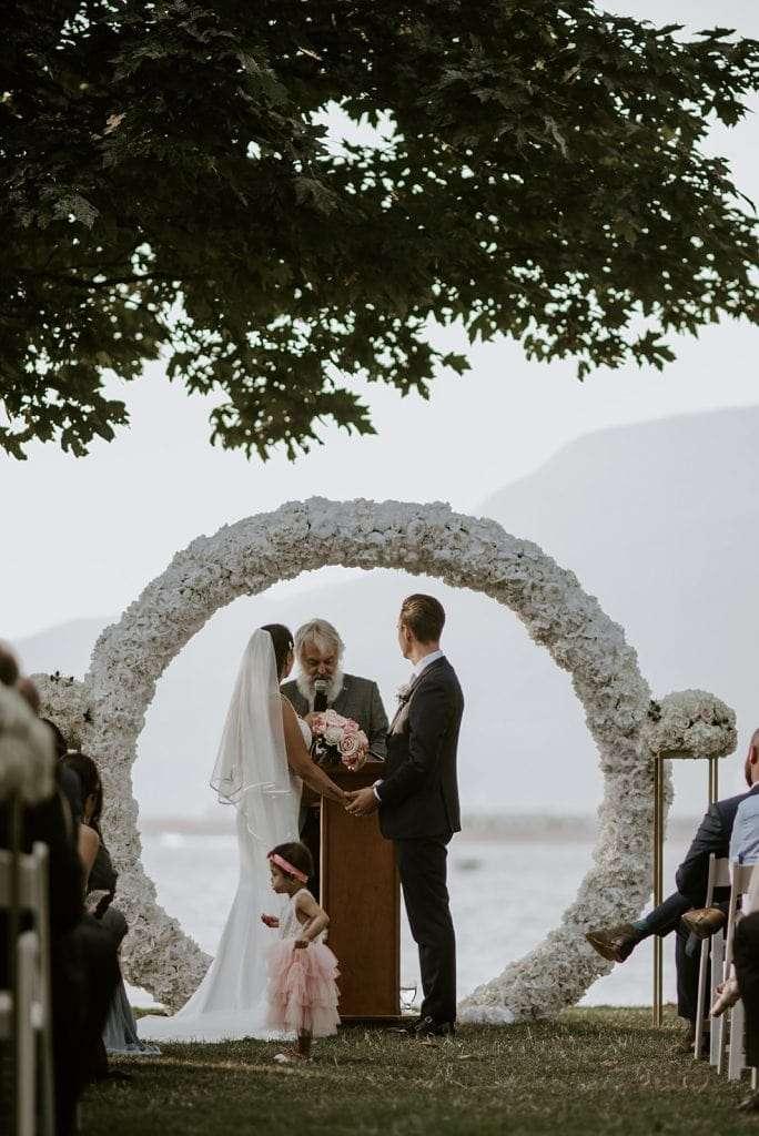 Bride and Groom at sunset wedding at Brockhouse Restaurant.