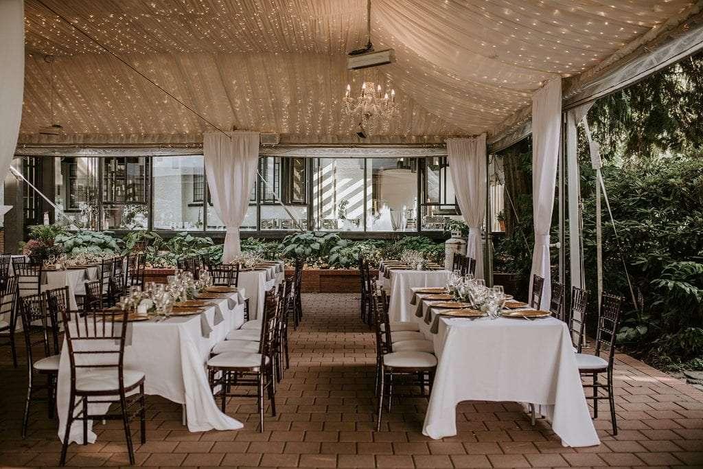 Sunset wedding at Brockhouse Restaurant.