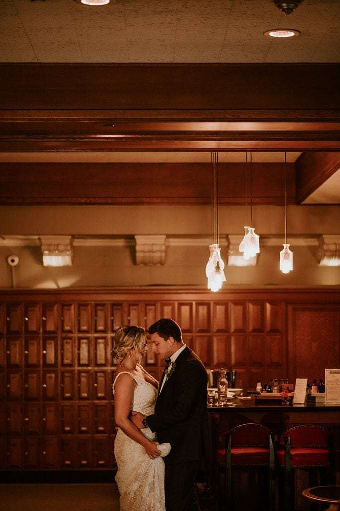 Bride and groom at Vancouver club wedding.