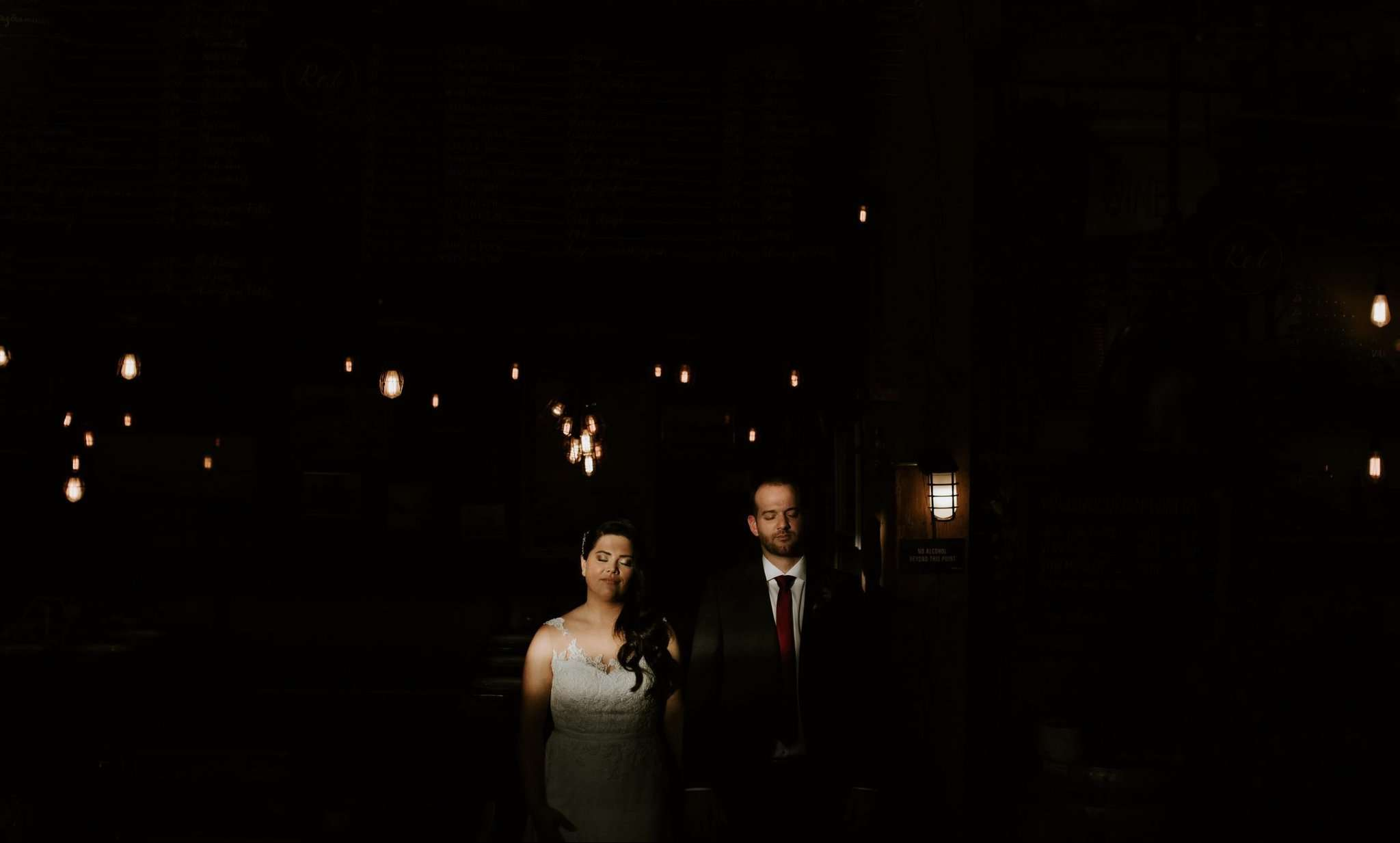 Bride and Groom at their Wedding at the Settlement Building Vancouver.