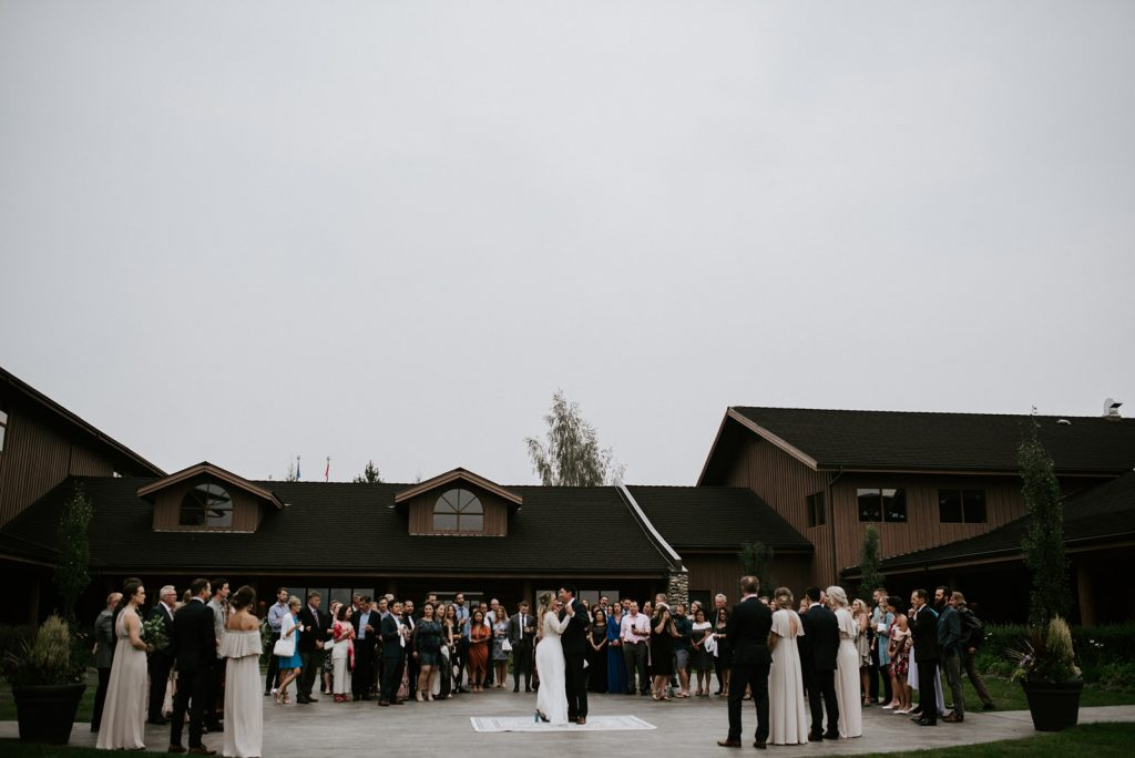 Bride and Groom at their wedding at Cochrane ranchehouse in Calgary Alberta.