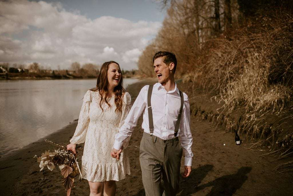 Bride and Groom at Brae Island Elopement